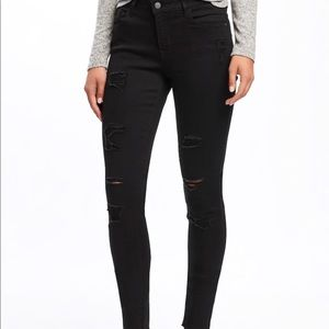 Rockstar mid rise black distressed denim